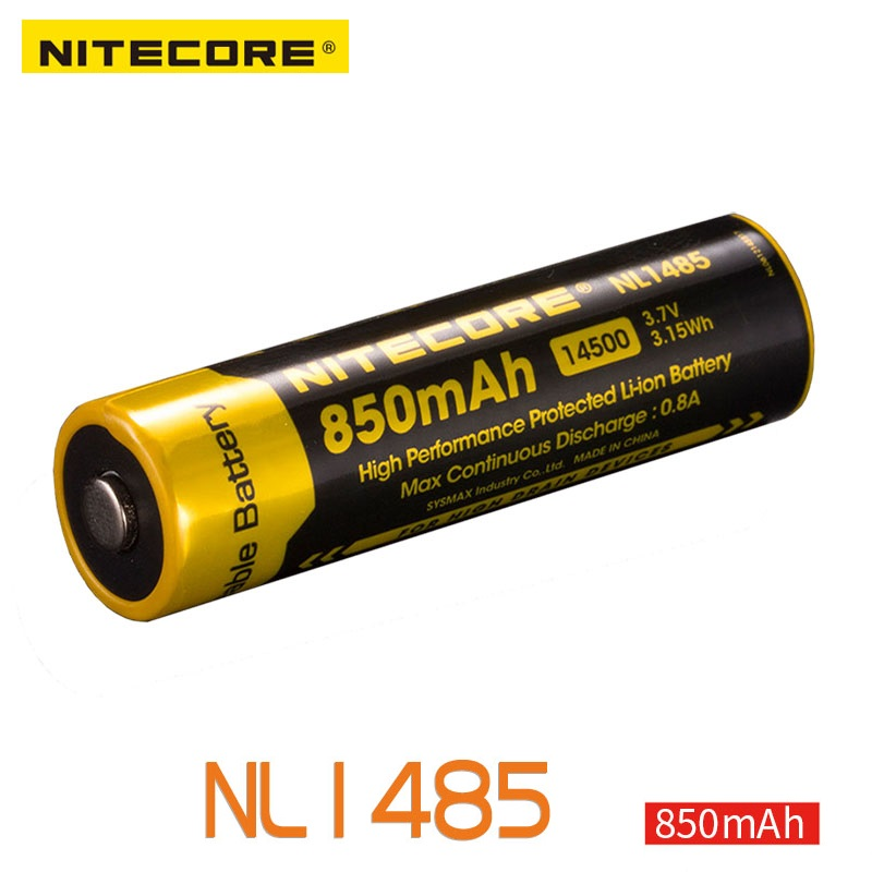 NITECORE NL1485 High-Performance 850mAh Li-ion Rechargerable 14500 Battery For Hight Drain Devices