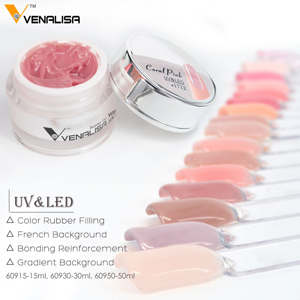 Venalisa 15ml Nail Art French Nail DIY Gum Poly Gel Clear Natural Camouflage Color Fibreglass Hard Jelly Builder Nail Extend Gel