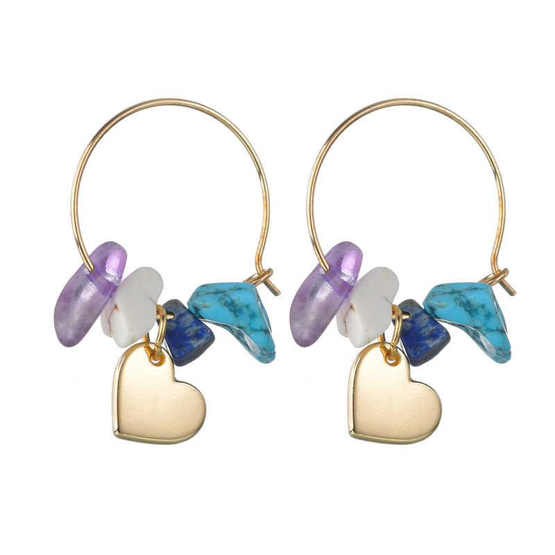 Vitange สีฟ้าหินสีม่วงต่างหูสำหรับหญิงสาวเรขาคณิตไม่สม่ำเสมอลูกปัด Drop ต่างหูปาร์ตี้แฟชั่นเครื่องประดับเครื่องประดับ