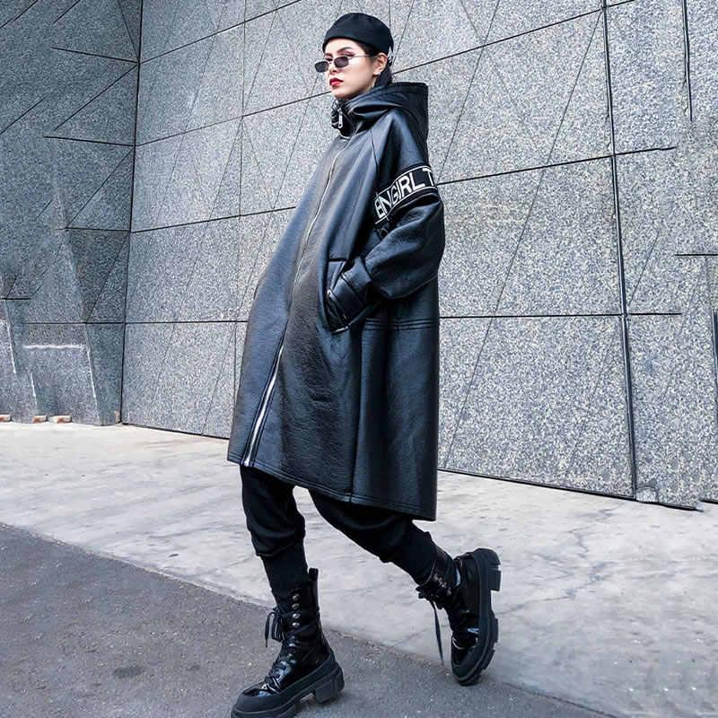 Xitao carta plus size couro falso moda feminina nova 2019 outono bolso deusa elegante ventilador com capuz colarinho solto casaco zll4442