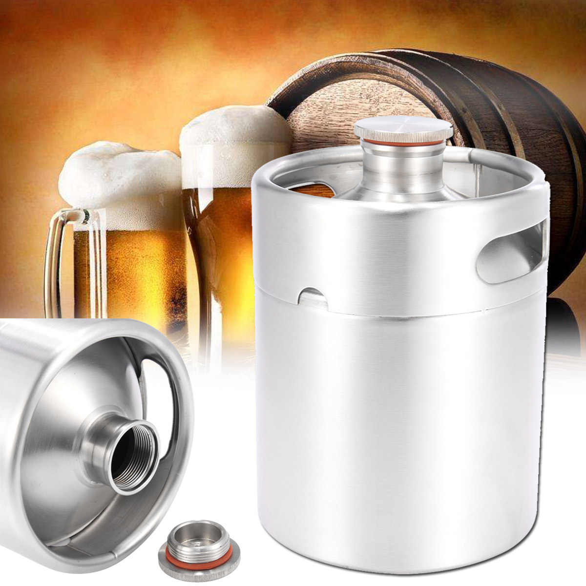 New 304 Stainless Steel 2L Mini Beer Keg Pressurized Growler Durable Portable Beer Bottle Home Brewing Beer Making Tool For Home