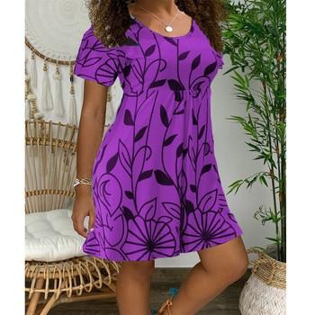 2020 New Summer Dresses Women Casual Short Sleeve O-Neck Print A-line Dress Large Size Streetwear Sundress Loose Dress Vestidos - Myh006 Purple, XXXL