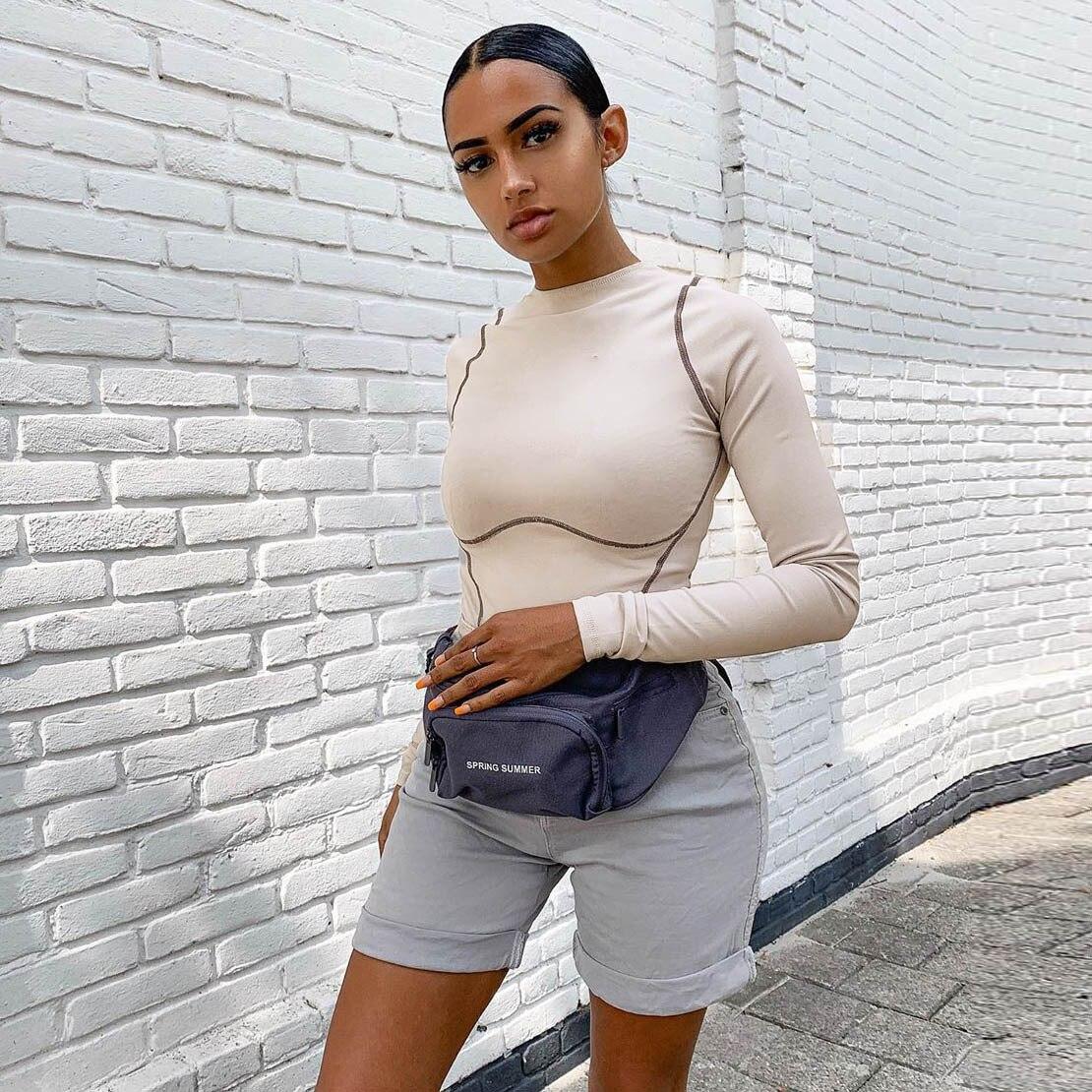 2020 Autumn Winter Women Bodysuit Long Sleeve Bodycon Sexy Romper Gloves Streetwear Festival Clothing One Piece Body