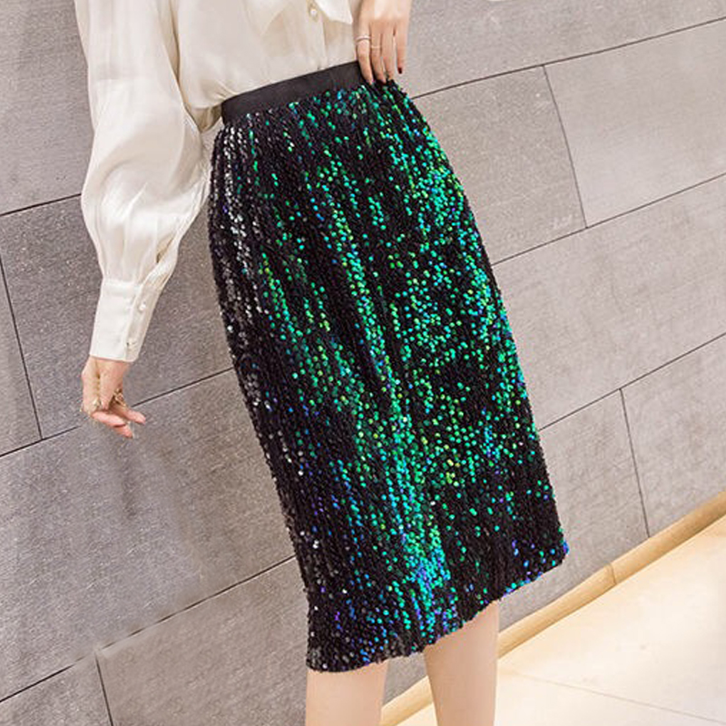 Spring Fall Fashion Womens Ladies Black Green Glitter Patchwork Elastic High Waisted Meduim Skirt , Sequined Skirts For Woman
