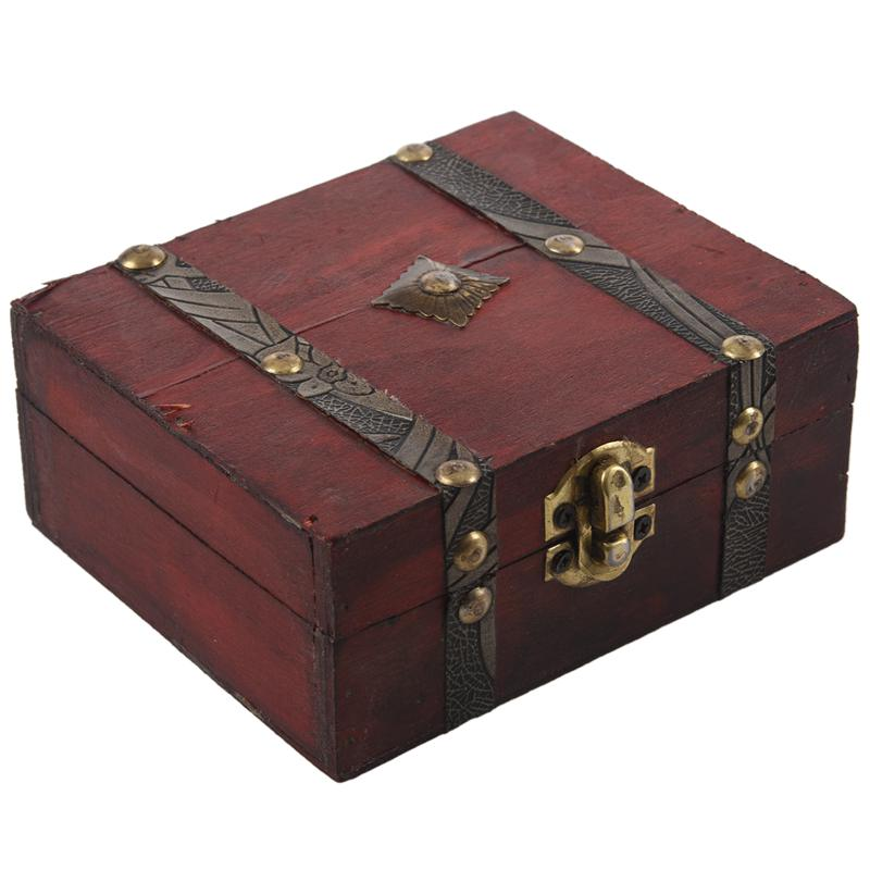 Wooden Vintage Lock Treasure Chest Jewelery Storage Box Case Organiser Ring Gift|Bottles Jars & Boxes| |  - title=