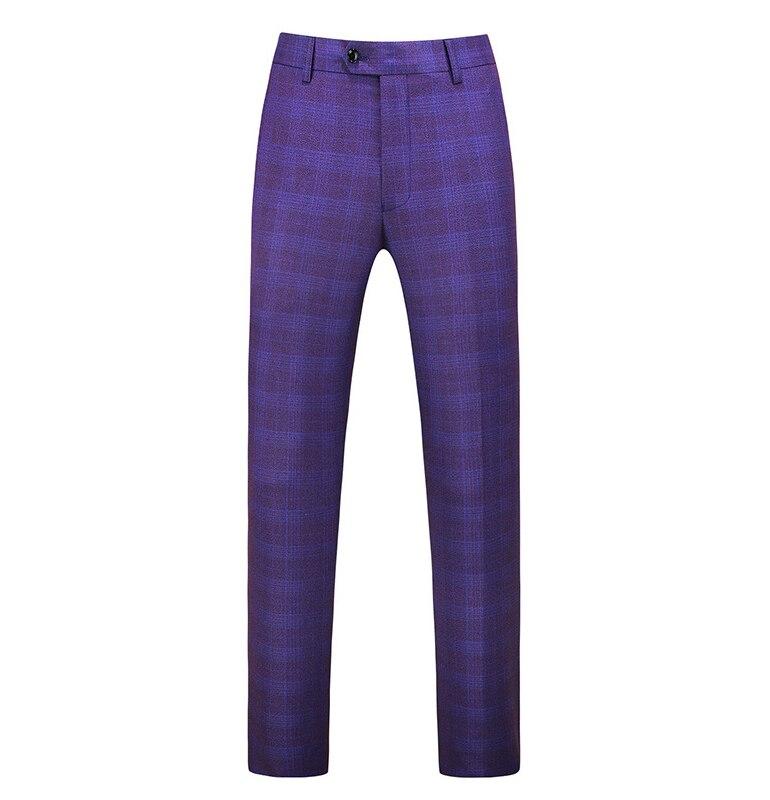 Gwenhwayfar, мужские синие клетчатые брюки, деловой костюм, брюки, деловые повседневные облегающие брюки, Классический Клетчатый костюм, брюки для свадьбы - Цвет: purple plaid