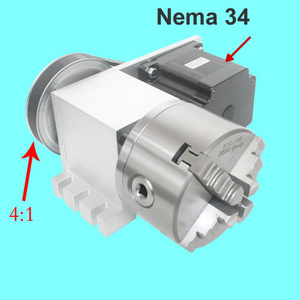 Image 4 - Nema 34 stepper motor (4:1)(K11 100mm) Chuck 100mm CNC 4th axis (A aixs, rotary axis) + Tailstock for cnc router