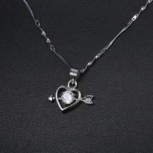 Titanium steel zircon ladies necklace heart-shaped hanging ornaments hypoallergenic fashion girl pendants necklace pendulum цена 2017