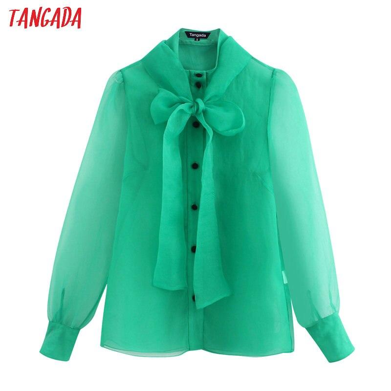 Tangada Women Chic Green Transparent Blouse Buttons Long Sleeve Female Mesh Shirts Stylish Ladies Tops BE100