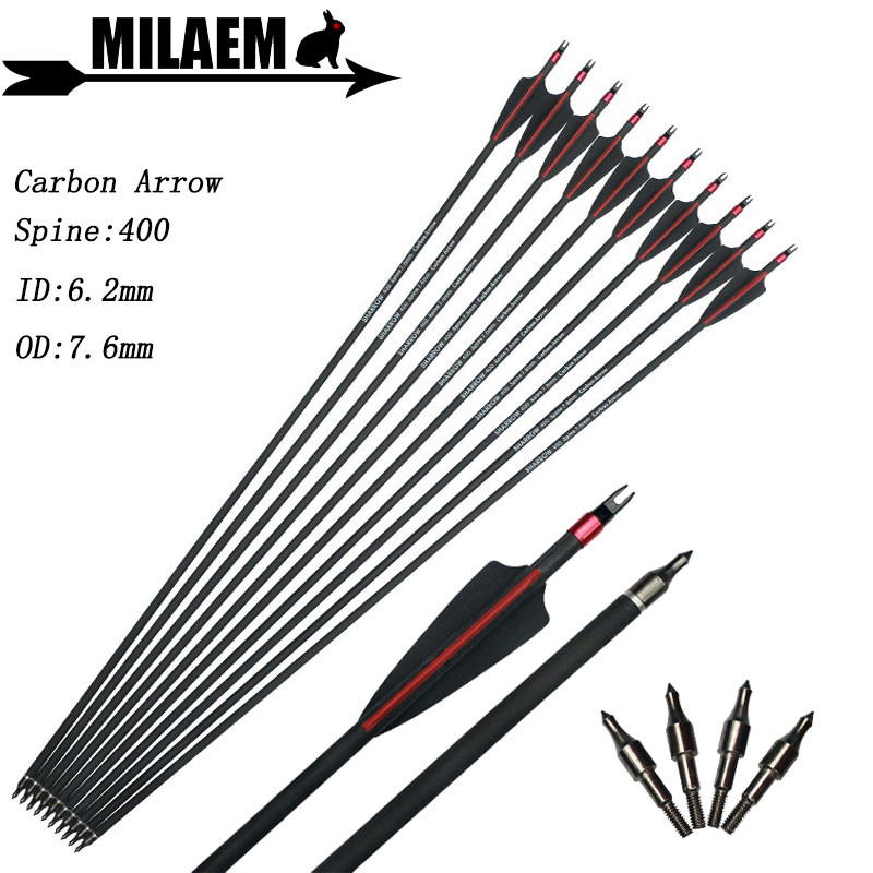 6/12pcs 30inch Archery Carbon Arrow Spine 400 ID6.2mm OD7.6mm 3inch Rubber Vanes Target Shooting Hunting Bow Arrow Accessories