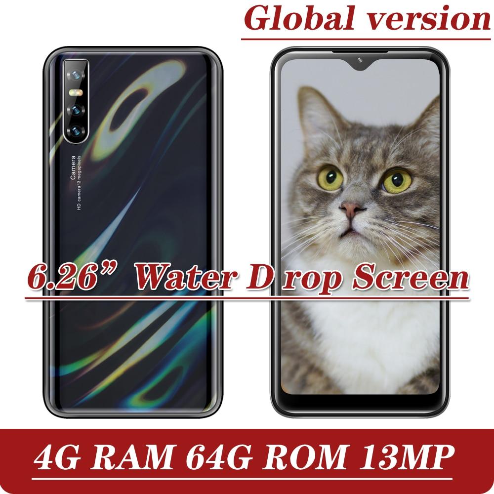 S6 сотовый телефон мобильный телефон андроид MTK капли воды Экран смартфонов Face ID разблокирована Celulares 4G Оперативная память 64G Встроенная памя...