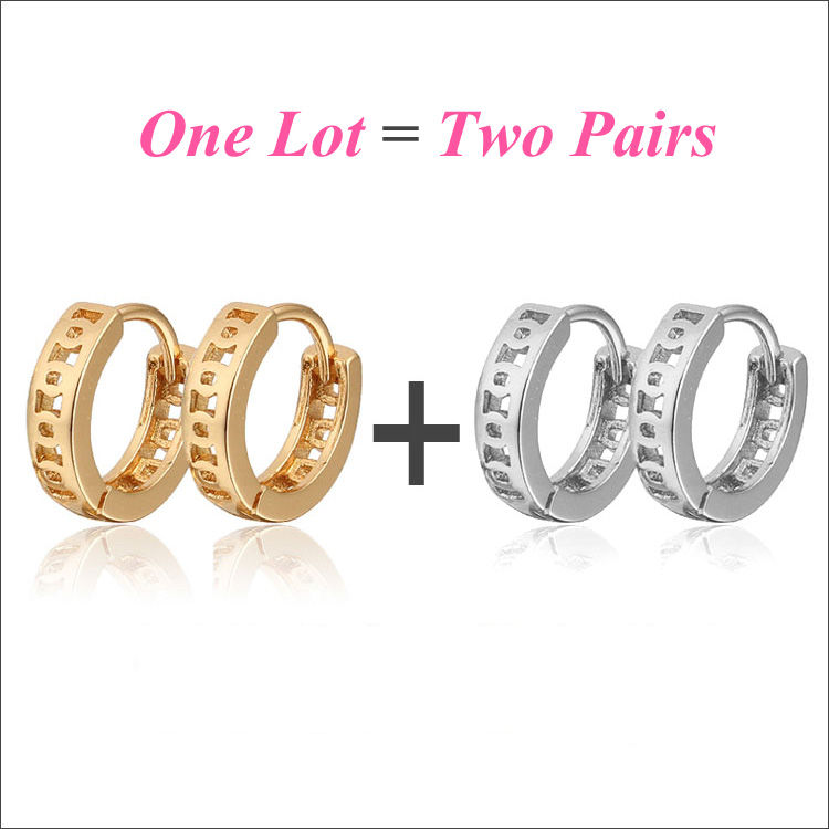 2pair Lot Baby Earring Gold Hoop Earrings Kids Jewelry Boucle D