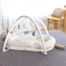 100*56cm Baby Nest Bed Portable Crib for Newborn Multifunction Baby Bed With Toy Rack Travel Bed Baby Lounger Solid Cotton