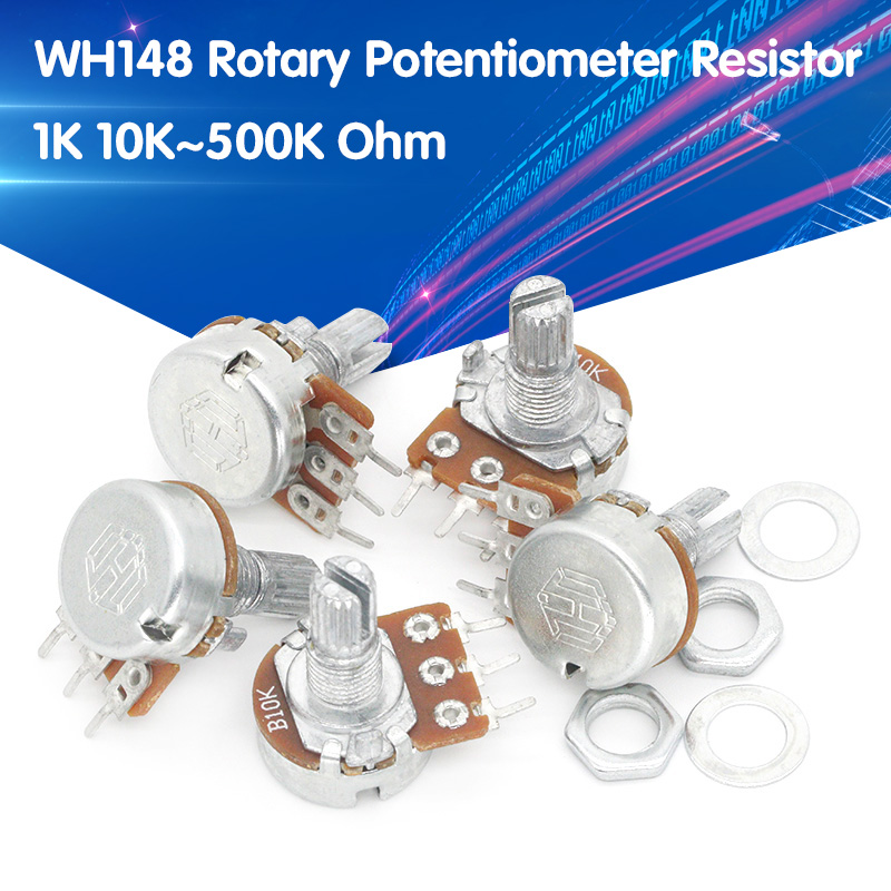 5pcs WH148 B1K B2K B5K B10K B20K B50K B100K B500K 3Pin 15mm Shaft Amplifier Dual Stereo Potentiometer 1K 2K 5K 10K 50K 100K 500K