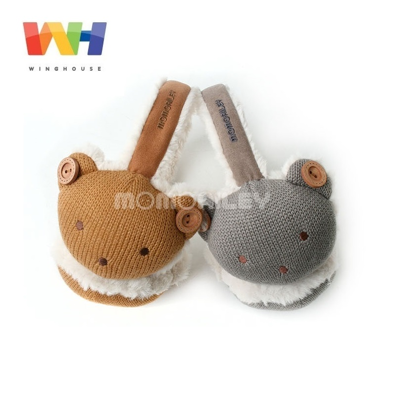 South Korea Winghouse Children Earmuffs Cartoon Bear Earbags Boy Plush Earflaps Winter Windproof Earplug Kids Warm Ear Cover