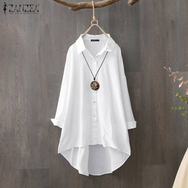 Women Tops And Blouses ZANZEA Plus Size Ladies Casual Work Office Shirt Tunic Cotton White Blusas Buttons Down Chemiser Mujer