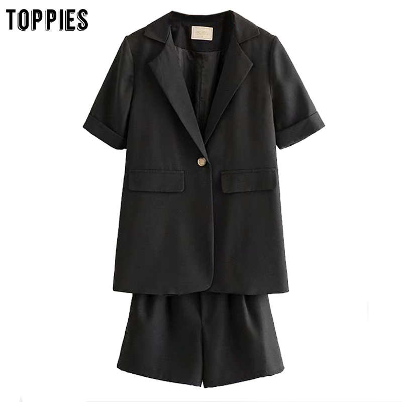 Toppies Summer Suit Sets Womens Short Sleeve Blazer Single Button Jackets Elastic High Waist Shorts Leisure Two Peice Set