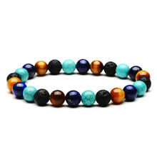 New Fashion Women Men Colorful Stone Bracelets Natural Stones Bracelet Tiger Eyes Pine Green Gold Black Agated Volcanic