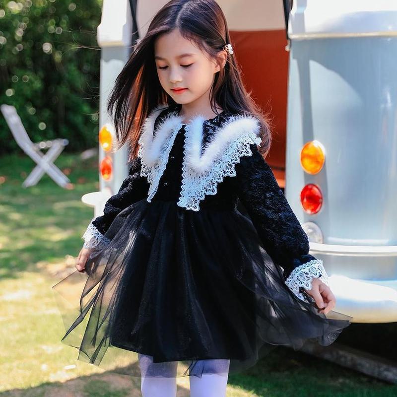 Marque filles hiver robe noir maille à manches longues fête noël nouvel an enfants vêtements 4 5 6 7 8 9 10 11 12 ans enfants robe