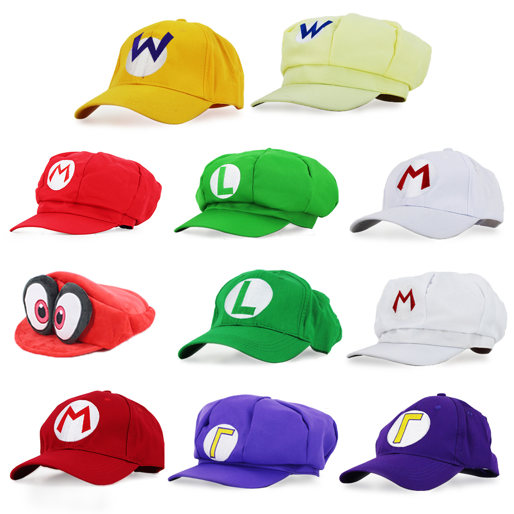 Super Mario Luigi Waluigi Wario Super Mary Odyssey Cappy 3D Hats Cosplay Cartoon Baseball Hats Plush Toys