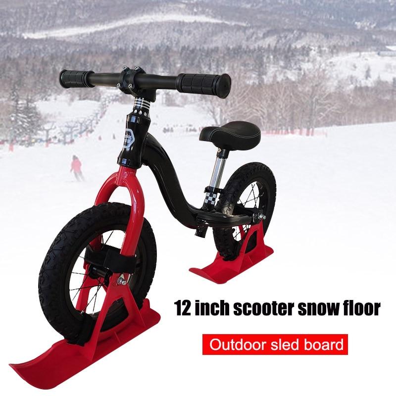 12in Kids Balance Bike Snowboard Sled Children Scooter Wheel Parts Snow Skiing Ski Board FOU99