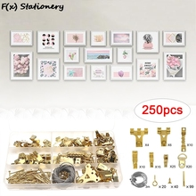 250pcs Picture Hanging Kit Gold Picture Frame Hanger Tool Hanging Wire, Hooks, Nails And Hanger Level For Marking Position