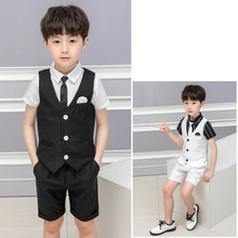 2019 New Boys Solid Vest Suit for Wedding Children Summer Formal Vest+Shirts+Shorts 3pcs Suits for Boys Clothing Kids Costume