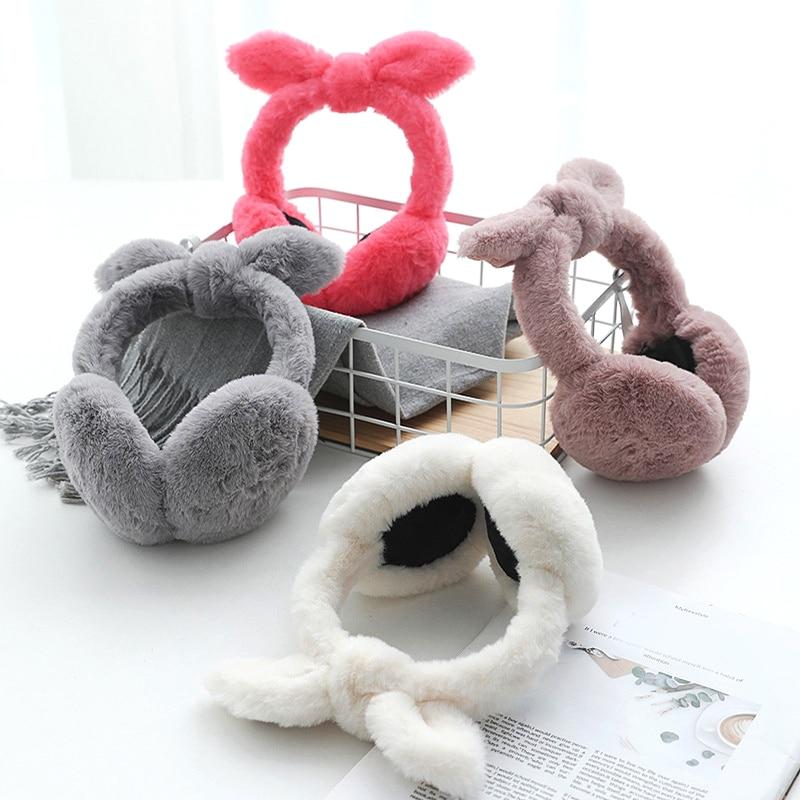 Cute Plush Bow Ears Plus Warm Earmuffs Women's Girls Winter Rabbit Ears Bow Earmuffs Warm Protection Folding Earmuffs Ear Cover