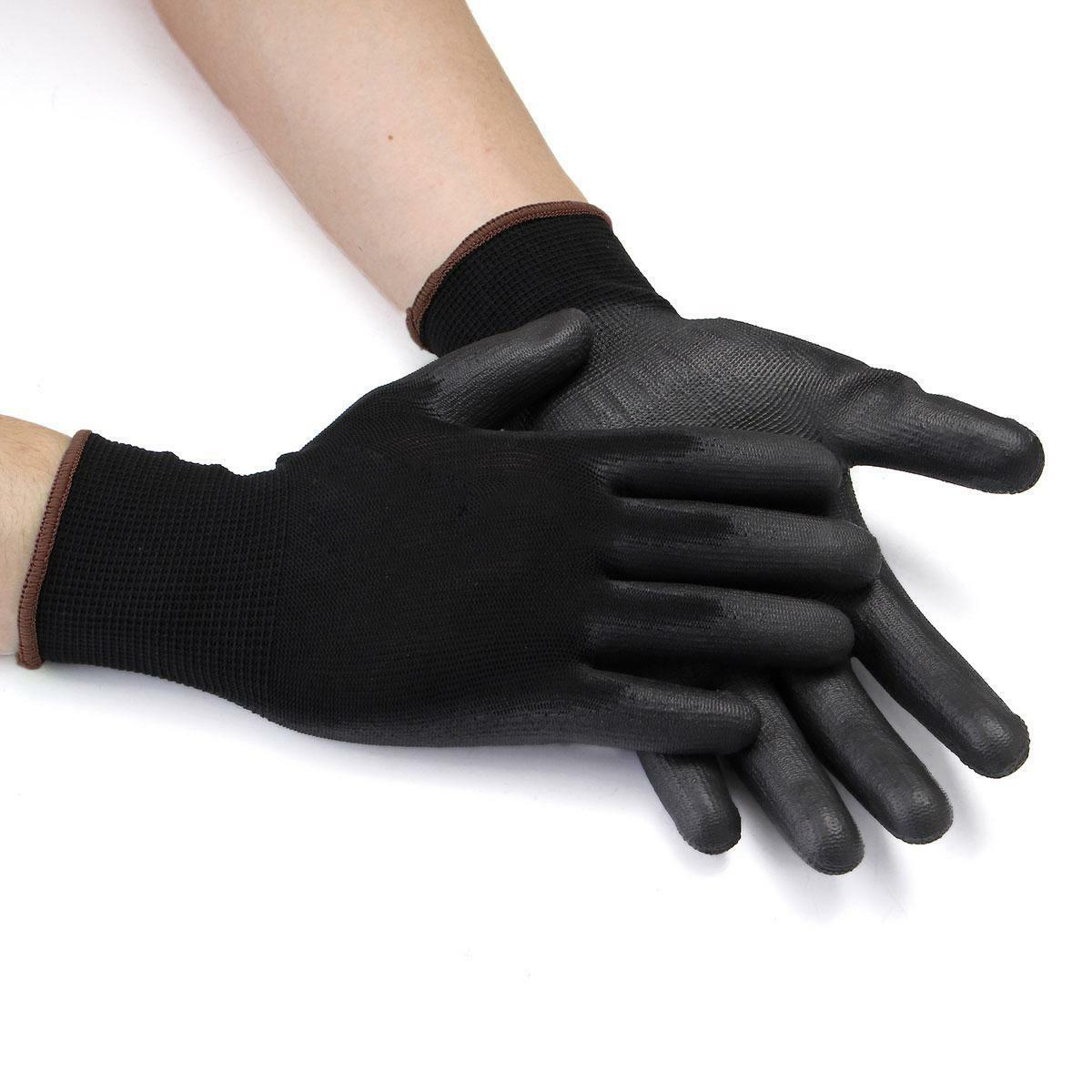 12 Pairs Black Nylon PU Safety Work Glove Builders Grip Palm Coating Warm Gloves