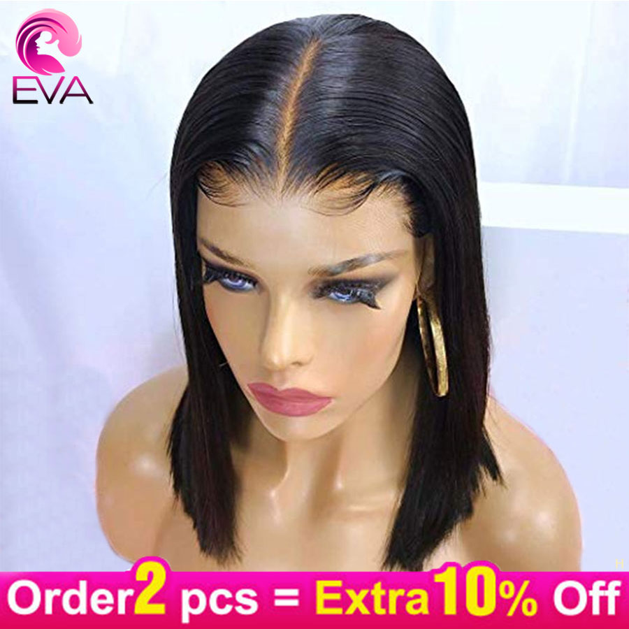 Eva 150% 13x6 Lace Front Human Hair Wigs Pre Plucked With Baby Hair Short Straight Bob Brazilian Remy Hair Wigs For Black Women