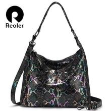 Женская сумка на плечо натуральная кожаная REALER, сумка для дам,сумки женские роскошные сумки женские дизайнерские сумки,животных принты женская сумка