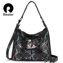 REALER shoulder bags for women 2019 genuine leather luxury handbag designer large Hobos bag with tassel animal prints women bag(China)