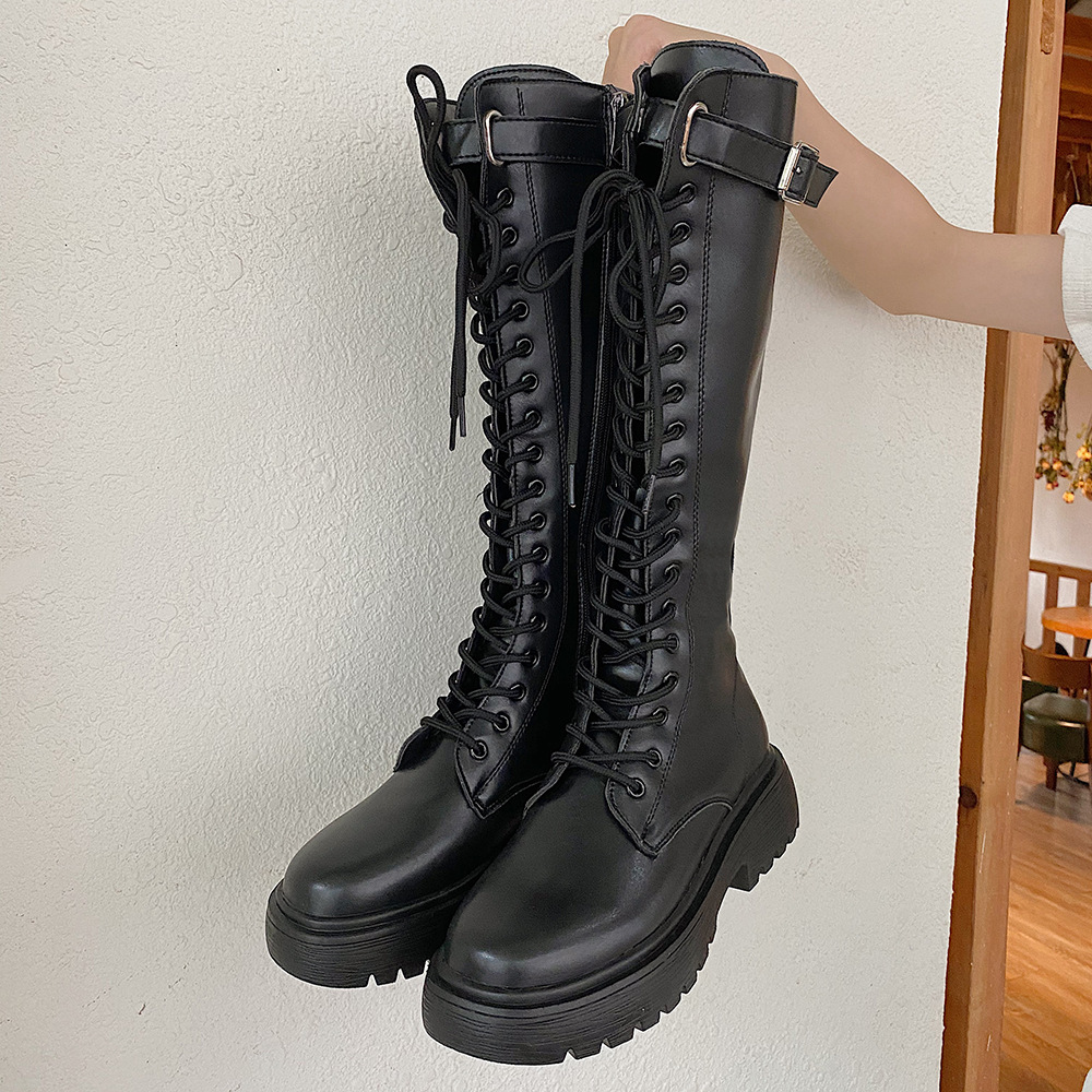 2020 New Thicken Winter Knight Boots Women Knee High Long Square Heel Boots Retro Thick Motorcycle Boots Black White botas mujer