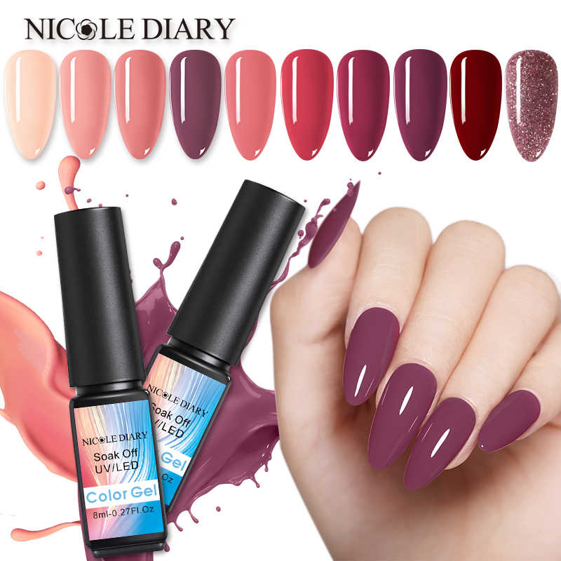 NICOLE TAGEBUCH Rose Gold Nagel Gel Glitter LED UV Gel Maniküre Pailletten Soak Off Gel Nagellack Vernis Semi Permanent gellak