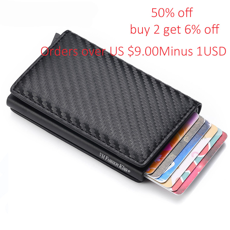 VM FASHION KISS Men Cardholder Mini RFID Blocking Wallet Automatic Credit Card Wallet Business Card Holder  Hold 7 Cards Purse