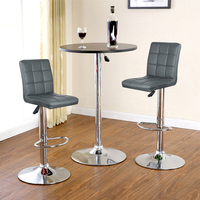 2Pcs/set Nine grid Cushion Bar Chair Adjustable Lift Rotating Swivel Bar Stool Ship From France Modern Furniture HWC