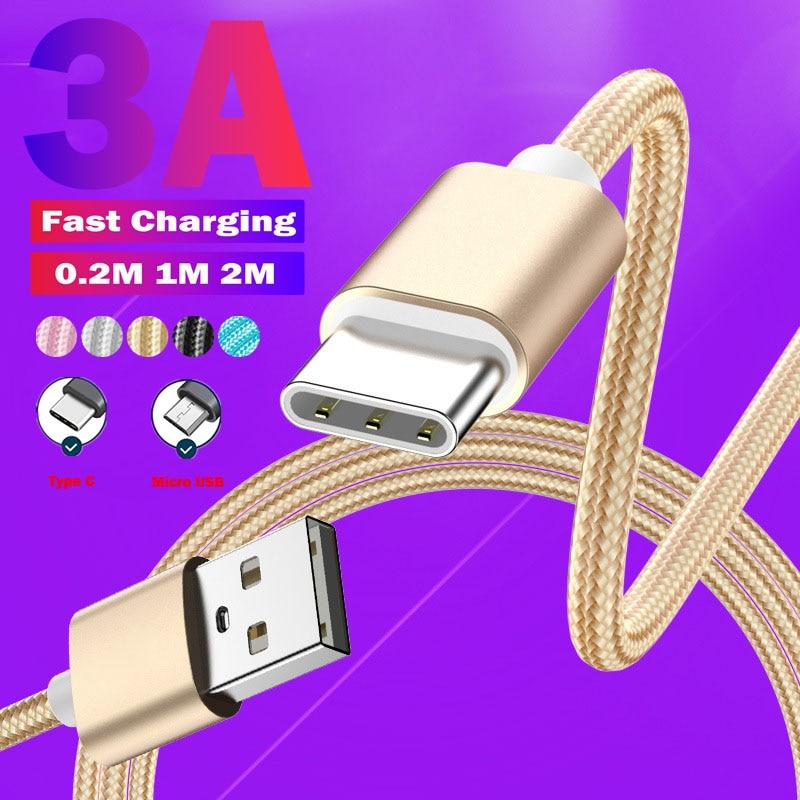 Длиной 2 м кабель с разъемом Micro USB Type-C для изготовления нейлоновых кабельных 3A быстрой зарядки для Samsung S6 мобильный телефон кабель для переда...