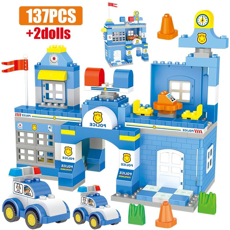 137pcs Large Particle Model Building Blocks Legoing Duploed City Police Station Car Figures Educational Bricks Toys For Children