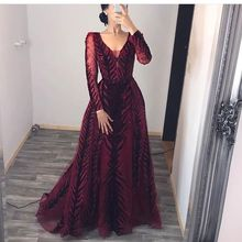 Burgundy Evening Dresses Long Sleeves Handmade Cyrstal Beaded Prom Dress 2020 Dubai Evening Gown Velvet Vestido de Fiesta