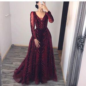 Image 1 - Robe de soirée en cristal bordeaux, manches longues, perles, fait à la main, robe de bal en velours, dubaï, modèle 2020