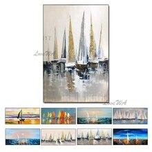 Ручная роспись маслом на холсте, цветная Морская Лодка, картина маслом, абстрактный современный холст, настенная живопись, декор для гостиной