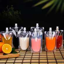 100pcs 100ml-500ml Stand up Plastic Drink Packaging Bag Spout Pouch for Beverage Juice Milk Wedding Party Drinking Pouches(China)