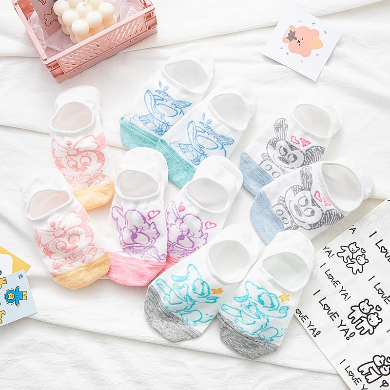 10 pieces=5 pairs korea women socks Cute Cartoon Animal short socks Non slip silicone Invisible socks Girl Ankle sock Size 35-40
