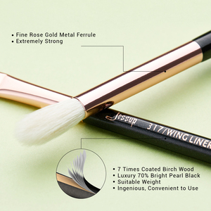Image 3 - Кисть для макияжа Jessup, розовая/Золотая/черная, кисти для теней, кисти для макияжа, подводка для глаз, тени из натуральных синтетических волос