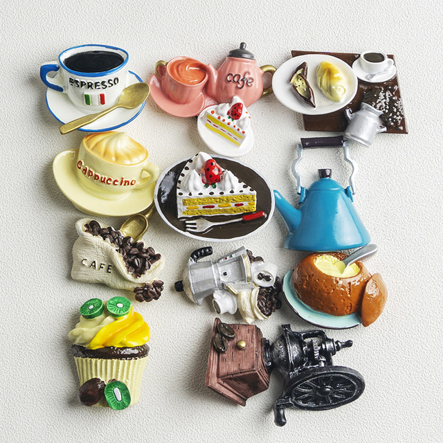 Nordic ins home decoration 3D food macarone coffee refrigerator paste magnetic Coffee cake kettle fridge magnet collection gifts 6