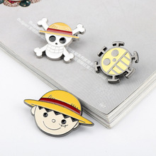 Anime One-Piece Luffy Brooch Metal Monkey D. Brooches Enamel Pins for Women Men Clothes Badge Collar Lapel
