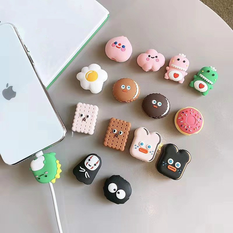 NEW 1PC Cute Cartoon Animal Cable Protector For Iphone Usb Cable Bite Chompers Holder Charger Wire Organizer Phone Accessories