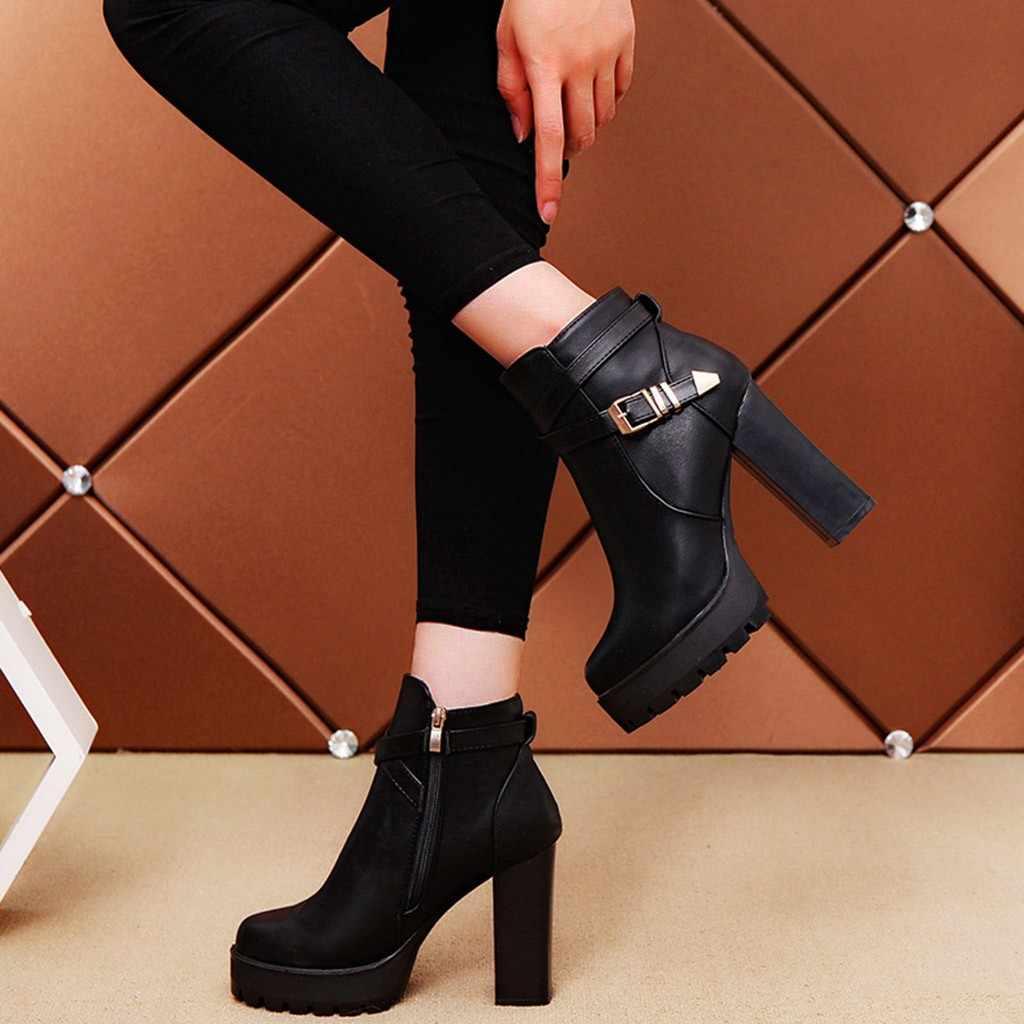 Gesp Laarzen Vrouwen Mode Platforms Rits Riem Gesp Hakken Ronde Neus Laarzen Herfst Winter Schoenen Vrouw Bottes Femme