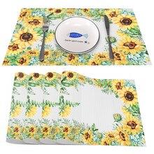 Sunflower Heat-Resistant Placemats Stain Resistant Anti-Skid Washable PVC/Polyeste Table Mats Woven Vinyl Placemats, Set of 4PCS