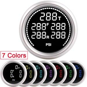 Image 1 - Car Air Suspension Gauge 7 Colors 20Bar 290PSI Air Pressure Boost Air Ride Gauge With 5pcs 1/8NPT Electrical Sensors racing